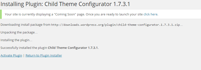 child theme plugin install