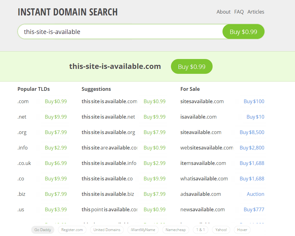 business website guide instant domain search