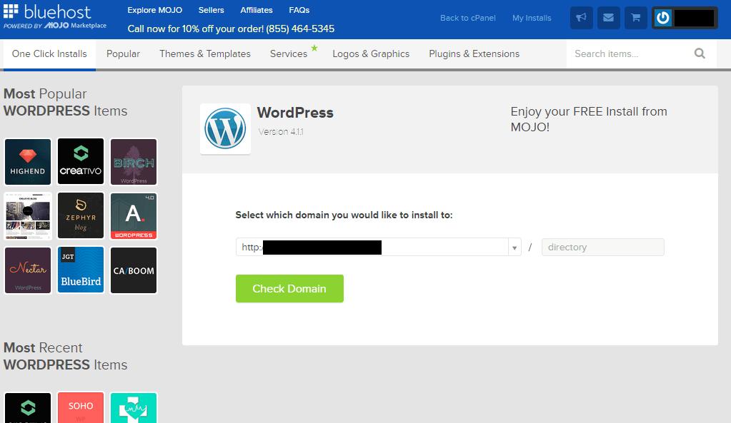 business website guide WordPress install screen