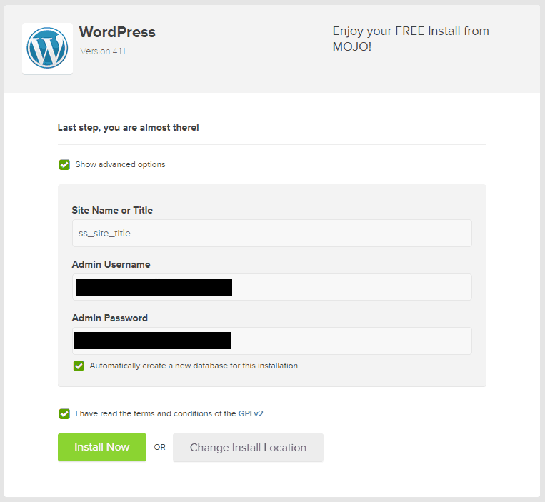 business website guide wordpress install admin credentials